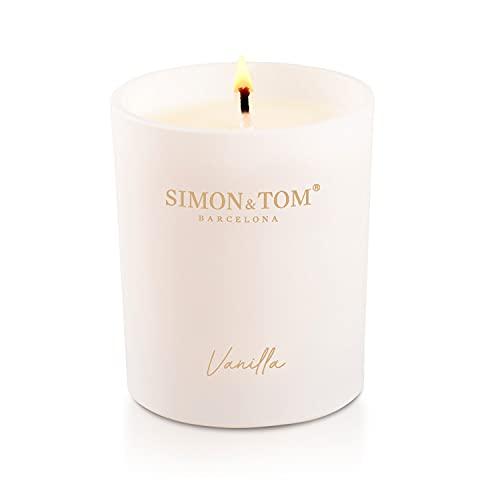 SIMON & TOM Duftkerze - Vanille Duft - Aus hochwertigem Sojawachs - Das süße Vanillearoma wirkt...