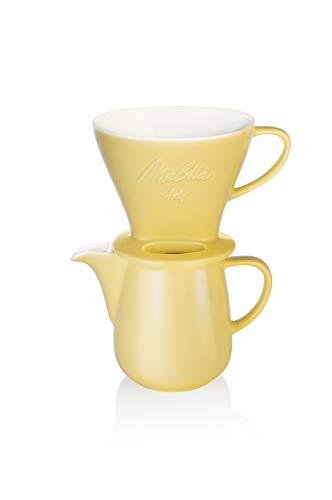 Melitta 6768458 Pour Over Set gelb (Kaffeefilter 1x4 + Porzellan Kaffeekanne 0,6 l) Classic Edition