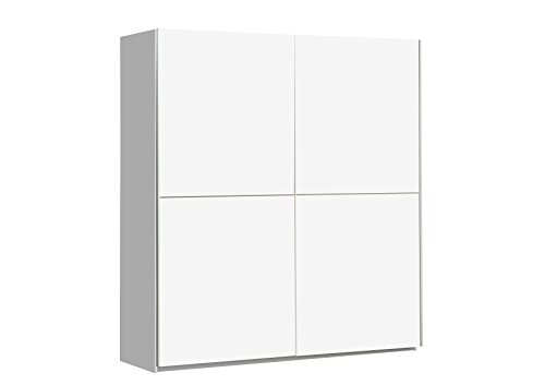 FORTE Winner Kleiderschrank, Schwebetürenschrank mit 2 Türen, Weiß Matt, 170.3 x 61.2 x 190.5 cm