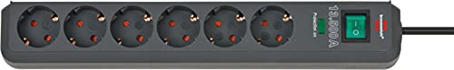 Brennenstuhl Eco-Line Steckdosenleiste 6-Fach mit Überspannungsschutz (Steckerleiste mit erhöhtem...
