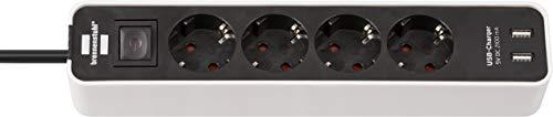 Brennenstuhl Ecolor Steckdosenleiste 4-fach mit USB-Ladebuchse (Steckerleiste mit 2x USB Charger,...
