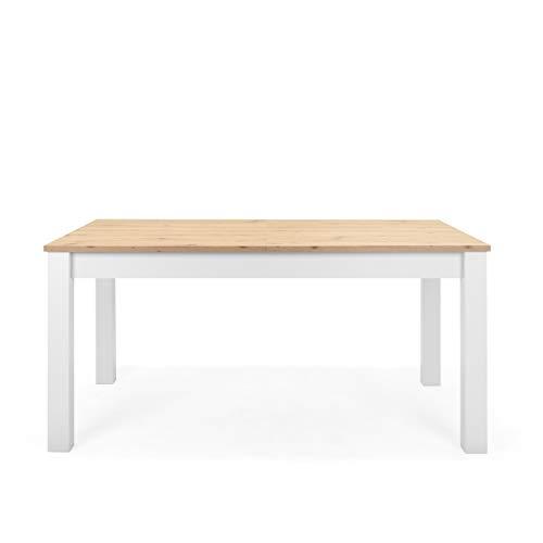 Newfurn Esstisch ausziehbar 160-215 cm inkl. Tischplatte Weiß Wildeiche Esszimmertisch Vintage...