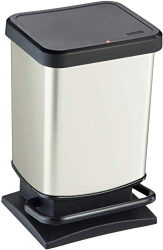 Rotho Paso Mülleimer 20l mit Pedal und Deckel, Kunststoff (PP) BPA-frei, weiss metallic, 20l (29,3...