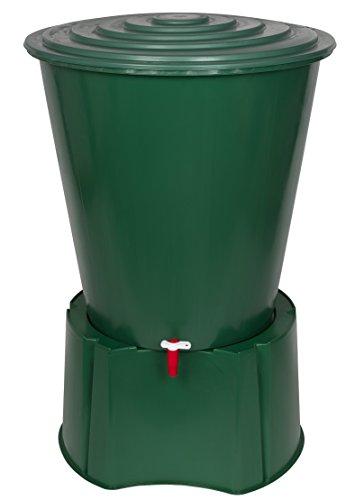 XL Regentonne 210 Liter aus Kunststoff in Grün. Mit sehr robustem Monoblock Stand, Wasserhahn und...