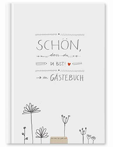 Gästebuch für Hochzeit, Geburtstag, Ferienwohnung, Taufe weiß, Hochzeitsgästebuch Schön dass du...