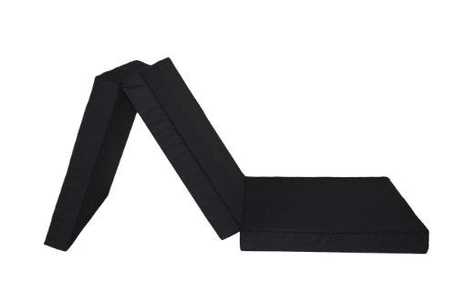 Badenia Gästematratze, 3-teilige Klappmatratze, mit Baumwollmischgewebe, 196 x 65 cm, schwarz