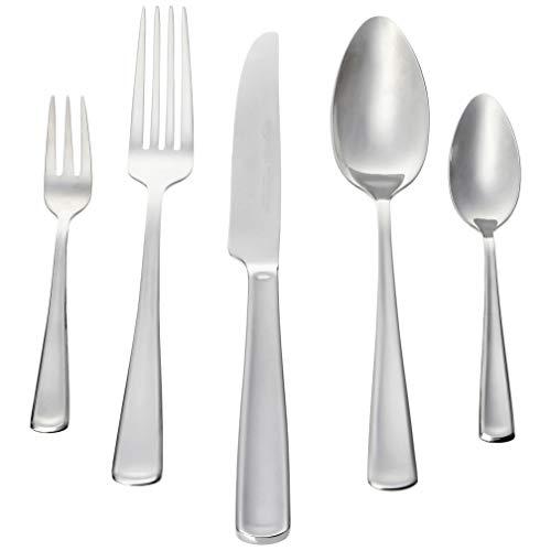 Amazon Basics -30-teiliges Besteck-Set, Silberfarben - für 6 Personen[moderner Stil]