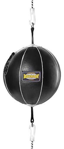 Bad Company Doppelendball aus Leder inkl. elastischen Spanngurten I 25 cm Durchmesser I Boxball für...