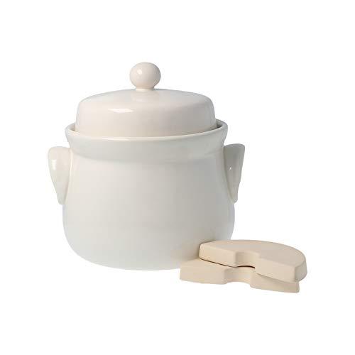 PureNature Rumtopf/Gärtopf mit Stein, cremefarben 2 Liter