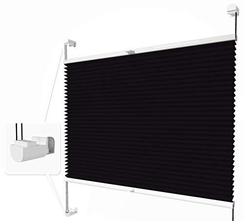 Home-Vision® Plissee Faltrollo ohne Bohren mit Klemmträger / -fix (Schwarz, B25cm x H120cm)...