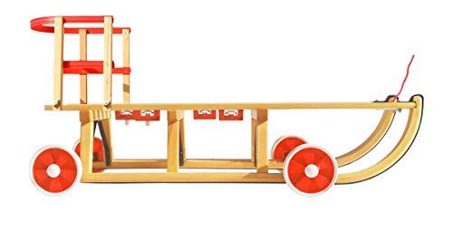 Roll Rodel Original Holzschlitten mit Rädern zum Einsatz auf Teer und Schnee - Schlitten mit...