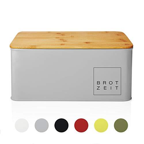 Lumaland Cuisine Brotkasten Brotdose Brotbox aus Metall mit Bambus Deckel, Brotbehälter rechteckig,...