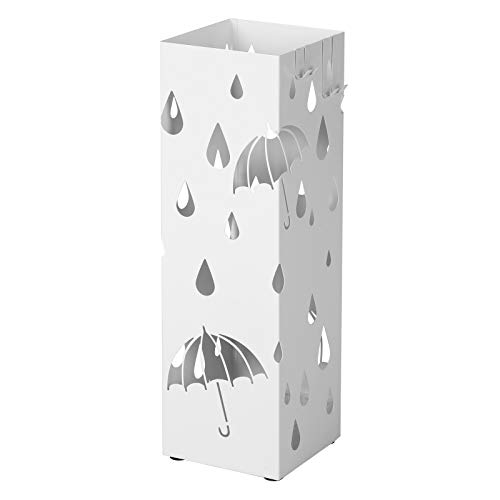 SONGMICS Regenschirmständer aus Metall, quadratischer Schirmständer, Wasserauffangschale...