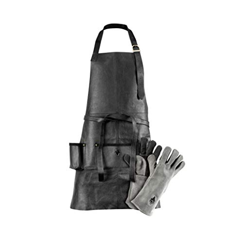 G-on Profi Grillschürze Leder schwarz Set mit Grillhandschuhen grau-schwarz I Kochschürze I...