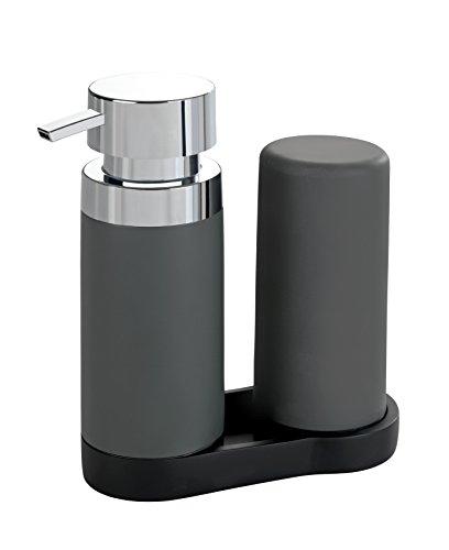 WENKO Easy Squeez-e Spülstation Grau - Seifenspender und Spülmittelspender Fassungsvermögen: 0.25...