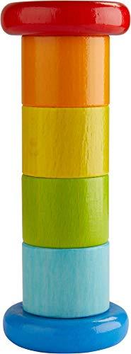 HABA 304817 - Regenmacher Farbenfroh, Baby-Spielzeug mit Rassel-Effekt in Regenbogenfarben,...