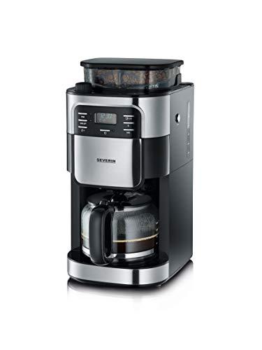 SEVERIN Kaffeeautomat mit Mahlwerk und Glaskanne, Für Kaffeebohnen und Filterkaffee, Timerfunktion,...