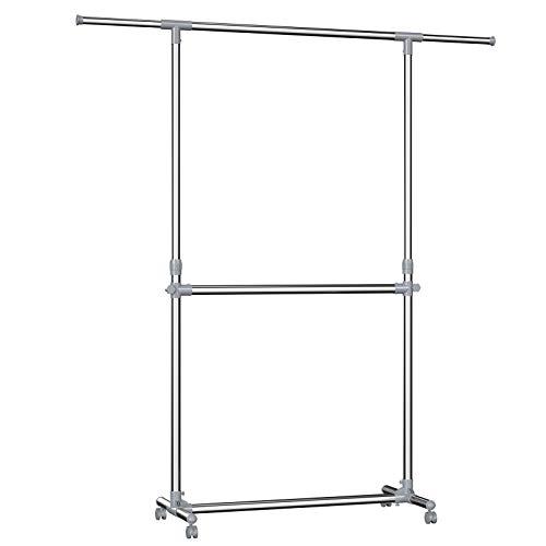 SONGMICS Kleiderständer Garderobenständer mit Rollen Höhenverstellbar von 113 bis 198 cm,...