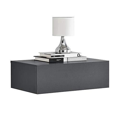 [en.casa] Wandregal mit Schublade - Dunkelgrau - Nachttisch, Nachtschrank - 46x30x15cm -...