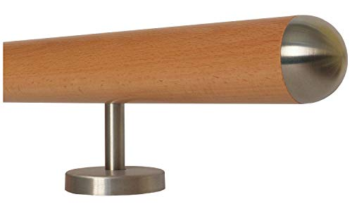 Buche Holz Treppe Handlauf Geländer Griff gerade Edelstahlhalter, Länge 30-500 cm aus einem...