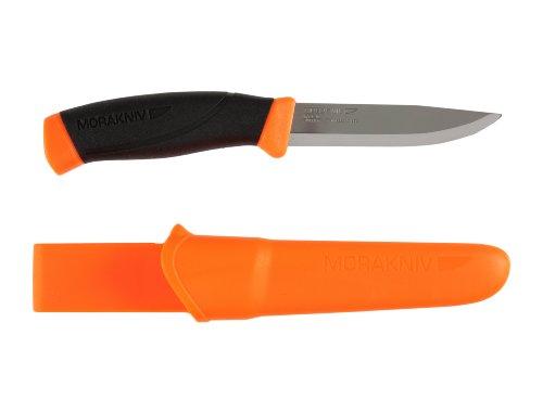 Morakniv Messer - Companion - rostfreier Sandvik Stahl 12C27 - zweifarbiger Griff - neonfarbene...