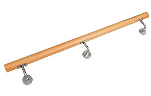 Buche Holz Handlauf Treppengeländer Wandhandlauf Treppe 80-230 cm V2Aox, Länge:150 cm