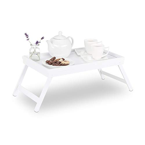 Relaxdays Betttablett Bambus, klappbare Beine, erhöhter Rand, Tablett zum Frühstücken &...