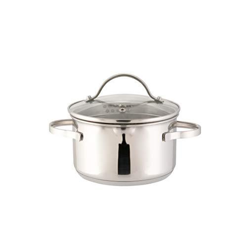 axentia Kochtopf Pado mit Deckel aus Glas, Küchen-Geschirr aus Edelstahl, Induktionstopf für alle...
