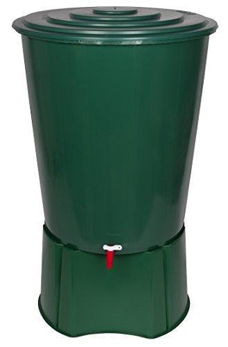 Kreher XL Regentonne 310 Liter aus Kunststoff in Grün. Mit sehr robustem Monoblock Stand,...