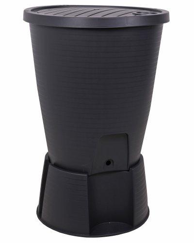 Ondis24 Regentonne schwarz Regenwassertank Wasserfass Regenwassertonne 220 Liter mit Deckel,...