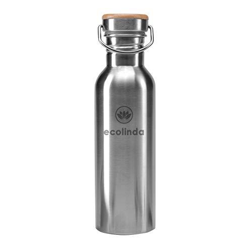 ecolinda® Trinkflasche Edelstahl Himalaya 750ml   einwandige Wasserflasche BPA-frei auslaufsicher  ...
