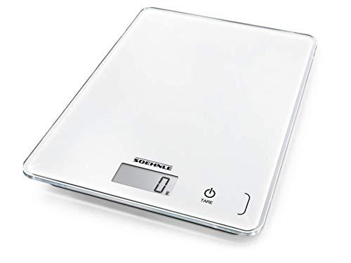 Soehnle Page Compact 300 digitale Küchenwaage bis zu 5 kg Tragkraft, Weiß, Küchenwaage mit leicht...