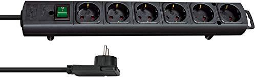 Brennenstuhl Comfort-Line Plus, Steckdosenleiste 6-fach (mit Flachstecker, Schalter, 2m Kabel und...