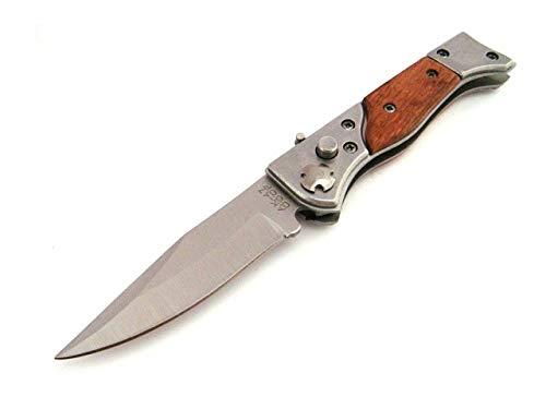 KOSxBO Klassisches Taschenmesser Einhandmesser aus Holz und Metall Klingenlänge 7,5 cm für die...