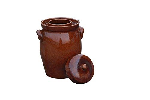 Hentschke Keramik Gärtopf, Rumtopf, Sauerkrauttopf Einlegetopf braun - 5 Liter incl. Deckel +...