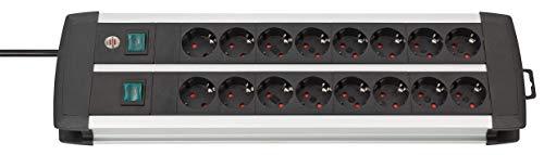 Brennenstuhl Premium-Alu-Line, Steckdosenleiste 16-fach - Steckerleiste aus hochwertigem Aluminium...
