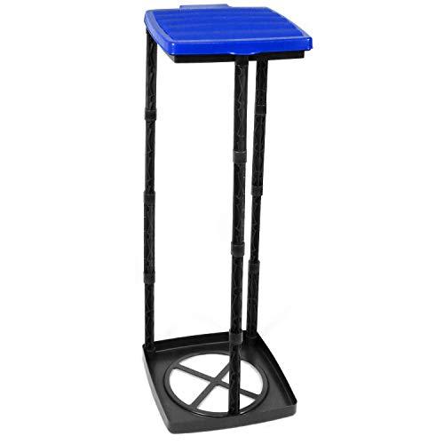 com-four® Müllsackständer mit Deckel, 3 Verschiedene Höhen montierbar, blau (Deckel - blau)