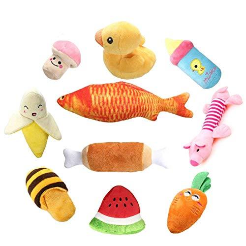 RoyalCare Quietschende Hundespielzeug 10 Stück, Plüsch Sound und kauen Obst Gemüse Spielzeug für...