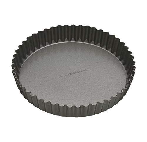 KitchenCraft Antihaft-Tortenbodenform/Quicheform mit gewelltem Rand und losem Boden, Stahl, 25 cm