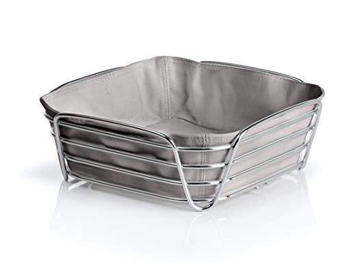 Blomus Brotkorb Taupe L - Brotkörbchen aus verchromtem Stahl und Baumwoll-Stofftasche
