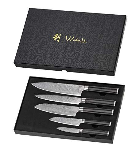 Wakoli Pakka Damastmesser Profi 5er Messerset, VG-10, 33,5 cm bis 19 cm, sehr hochwertige Damast...