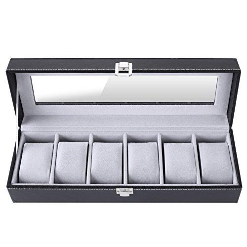 Femor Uhrenbox für 6 Uhren mit Glasfenster Watch Box Uhren Aufbewahrung aus PU Leder und Samt...