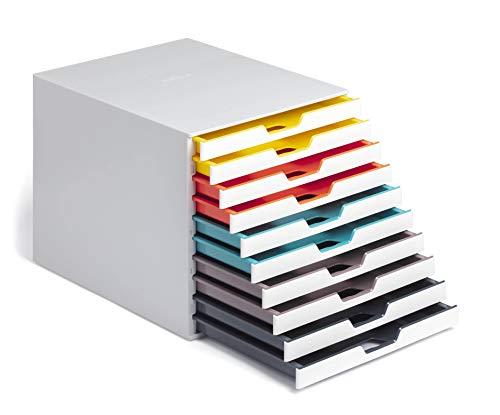 Durable 763027 A4 Schubladenbox (Varicolor Mix 10 Fächer, mit Etiketten zur Beschriftung)...
