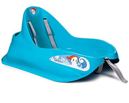 Ondis24 Schlitten Bob für Kleinkinder blau Rodel mit Sicherheitsgurt Rutscher mit Zuggurt und...