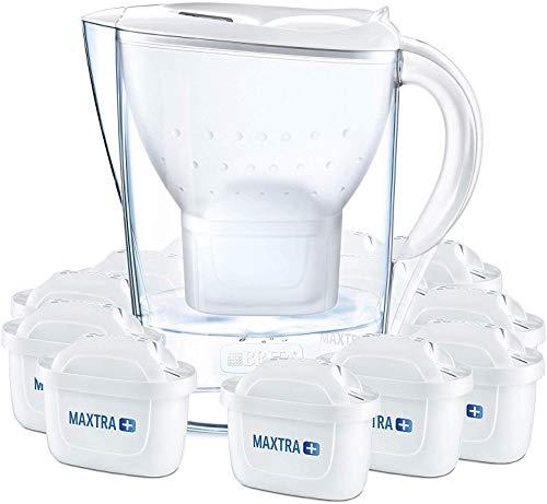 BRITA Wasserfilter Marella weiß inkl. 12 MAXTRA+ Filterkartuschen – BRITA Filter Jahrespaket zur...