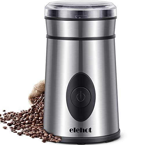 Kaffeemühle Elektrische Kaffeemühle mit Edelstahl Schlagmesser für Kaffeebohnen Nüsse Gewürze...