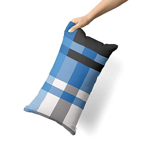 etérea 2 TLG Mikrofaser Bettwäsche Urban Check Karo Kariert Gestreift Blau, 135x200 cm + 80x80 cm