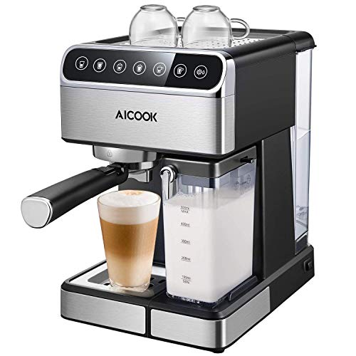 Aicook Kaffeemaschine (5 bar Dampfdruck, BPA-frei) Hause Dampf-Kaffeemaschine Halbautomat mit...