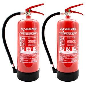 2X Feuerlöscher 6kg ABC Pulverlöscher mit Manometer EN 3 inkl. ANDRIS® Prüfnachweis mit...