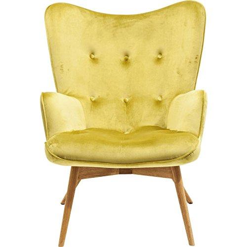 KARE Design Sessel Vicky 82686 mit Armlehnen, Ohrensessel mit Samt Bezug, Polstersessel in Grün,...